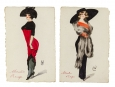 c1910 French Original Personalised Paris Fashion 4 Postcards