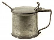 c1845 James Dixon Pewter Mustard Pot & Liner & Spoon