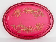 c1860 Gilded Cranberry Glass Oval Tray Dish
