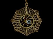c1890 Victorian 9ct Gold Spider Web Pendant on 9ct Gold Chain