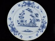 c1750 Large English Delft Blue and White Chinese Style Dish