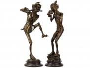 c2000 Pair of David Goode Style Cast Bronze Pixie Musicians
