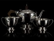 1933 Edward Barnard & Sons Sterling Silver Art Deco Tea Set