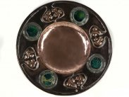 c1890 Art Nouveau Copper Dish with Green Enamel Bosses