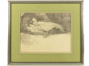 1893 Silverpoint Drawing of Nymphe by Charles Prosper Sainton