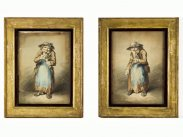 Attributed Paul Sandby Market Gin Lady Watercolour Caricatures