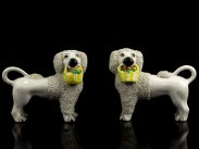 c1840 Pair of Antique English Staffordshire Pottery Poodles