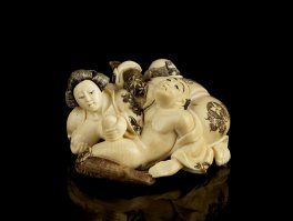c1895 Japanese Ivory Erotic Signed Carving of Threesome