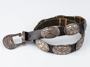 20th Century Native American Navajo Silver Concho Belt