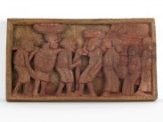 Early 20th Century African Village Scene Wall Plaque