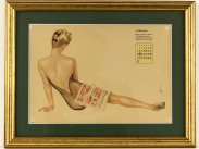 February 1943 Framed Calendar of WWII Vargas Pin Up Girl
