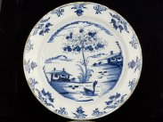 c1750 Large English Blue and White Chinese Style Delft Dish