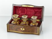 c1820 English Brass Inlaid Rosewood Cased Triple Scent Bottles