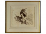 1764 Engraving of Woman in Oriental Headdress by Bartolozzi