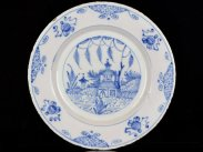 c1750 English Delft Blue and White Chinese Style Plate
