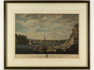 1786 Colour View of Marine Barracks at Stonehouse Plymouth Print
