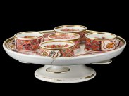 c1820 Pedestal Dish of Chinese Style Early Spode Egg Cups