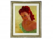 c1940 Hollywood Actress Ginger Rogers Oil Painting by Nunan