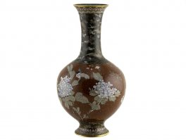 Large Japanese Goldstone Cloisonné Enamel Bottle Vase