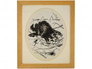 Charles W. Simpson Newlyn Original Ink Study c1950 Sloth