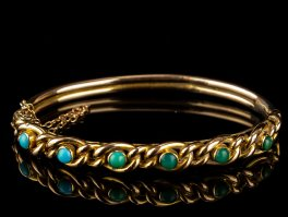 c1880 Turquoise and 15 Carat Rose Gold Bracelet
