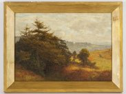 Frank Walton Oil on Board 'The Camp on Holmbury Hill'