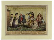 Georgian Satirical Print George Cruikshank Le Retour de Paris