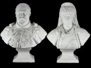 1902 Large Gesso Bust Statues of Edward VII & Queen Alexandra