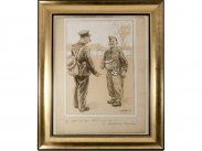 c1940 British Army Cartoon Drawing by Bovril Artist H H Harris