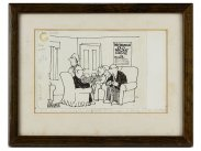 c1980 Original Pen & Ink Cartoon of Pensioners by Hector Breeze
