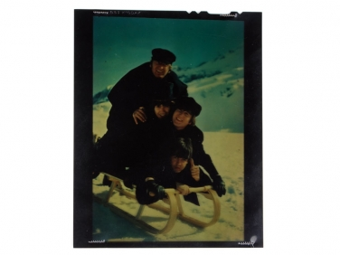 "Original 4×5 Kodachrome of The Beatles on Sled 1965 Movie ""Help"""