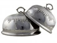 c1895 Pair of Silver Plated Dinner Cloches by Wm Hutton & Sons