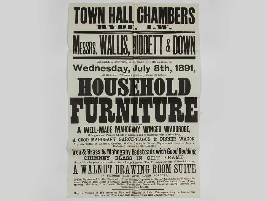 1891 Antique Furniture & Effects Victorian Auction Poster - 1891 Antique Furniture & Effects Victorian Auction Poster : Parade