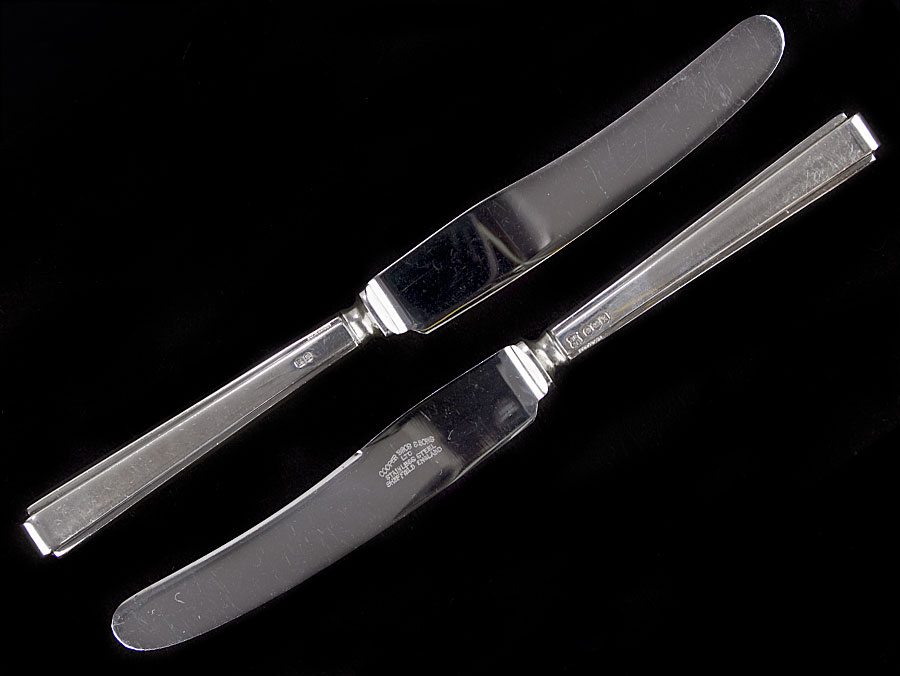 1965 Sterling Silver Cased Set Of Dessert Knives Parade