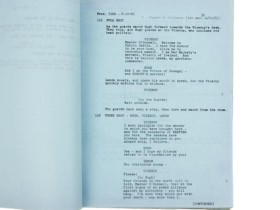 1965 Walt Disney Shooting Script Fighting Prince of Donegal