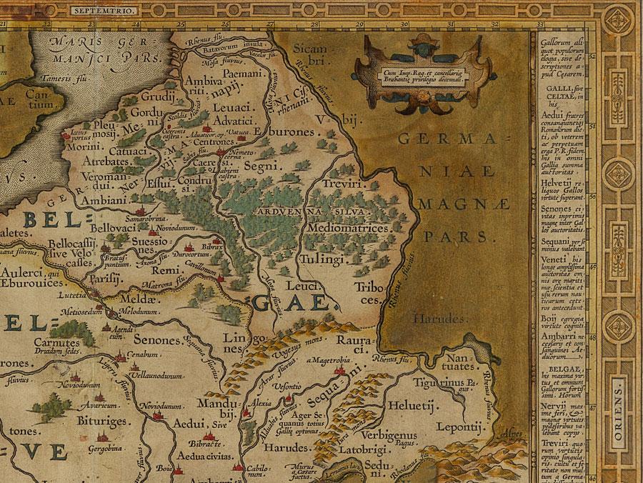 Gaul World Map.C1590 Julius Caesar Gallia Vetus Map Of Gaul By Ortelius Parade