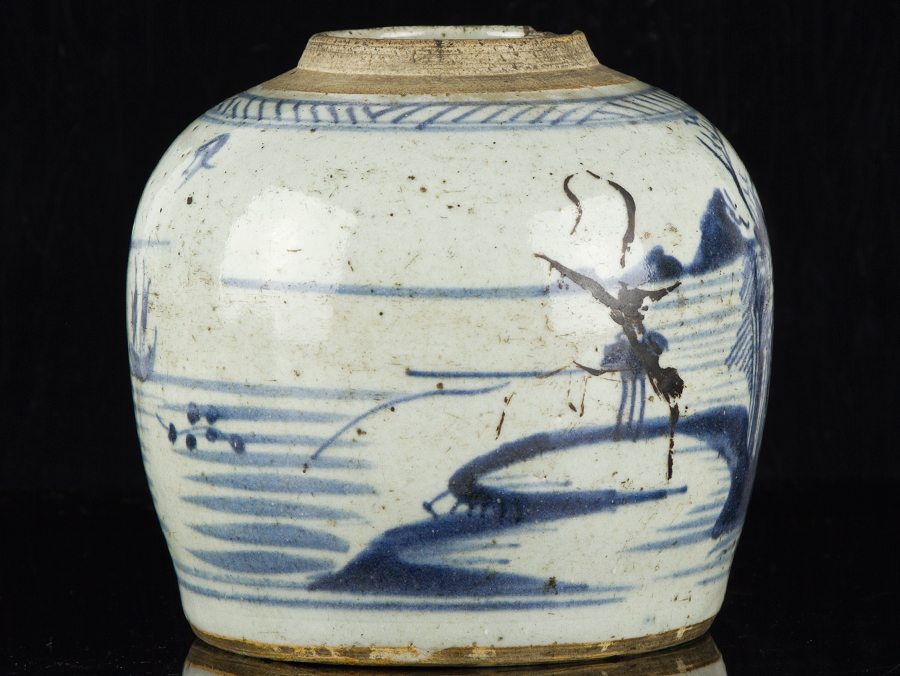 Blue White Jar Part - 37: ... C1630 Late Ming Chinese Blue And White Stoneware Ginger Jar ...
