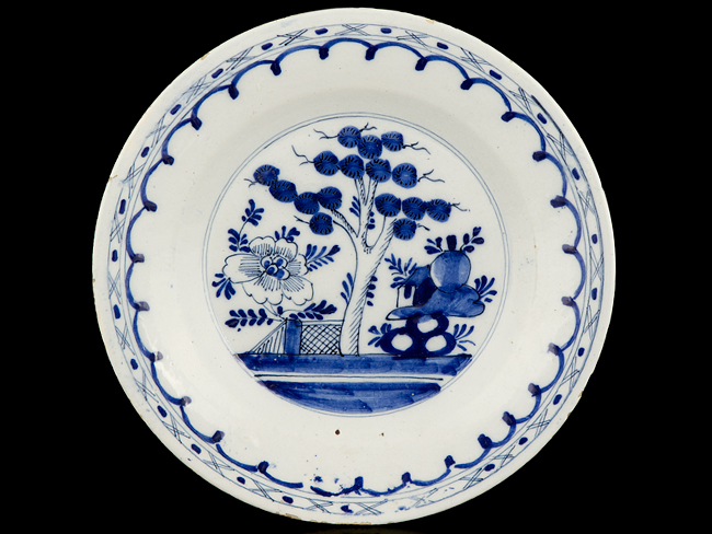 c1750 English Blue and White Chinese Style Delft Plate  sc 1 st  Parade Antiques & c1750 English Blue and White Chinese Style Delft Plate : Parade ...
