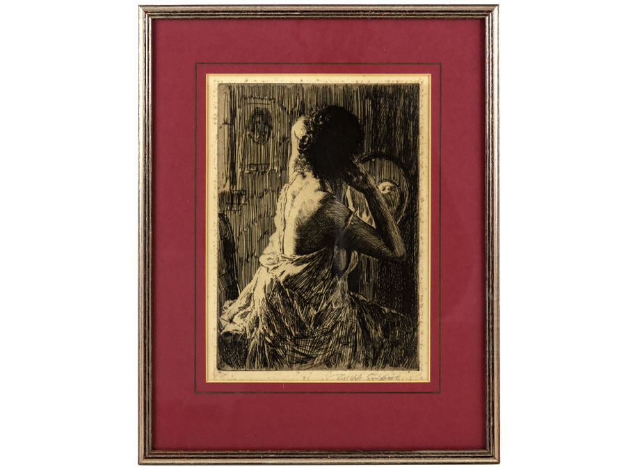 c1925 Framed Etching of Model\'s Toilette by Joseph Simpson : Parade ...