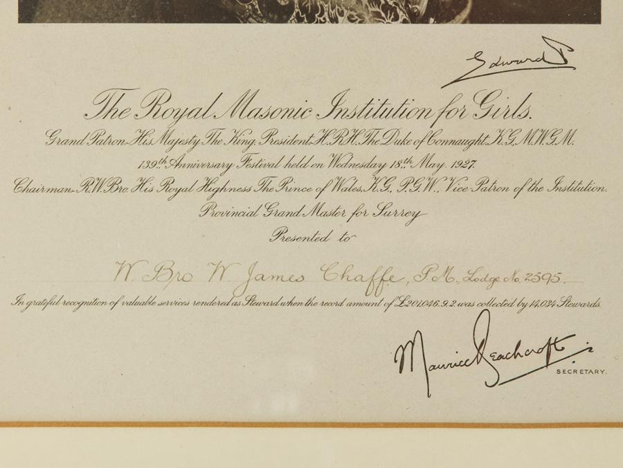 c1927 Edward VIII in Masonic Regalia Framed Photograph