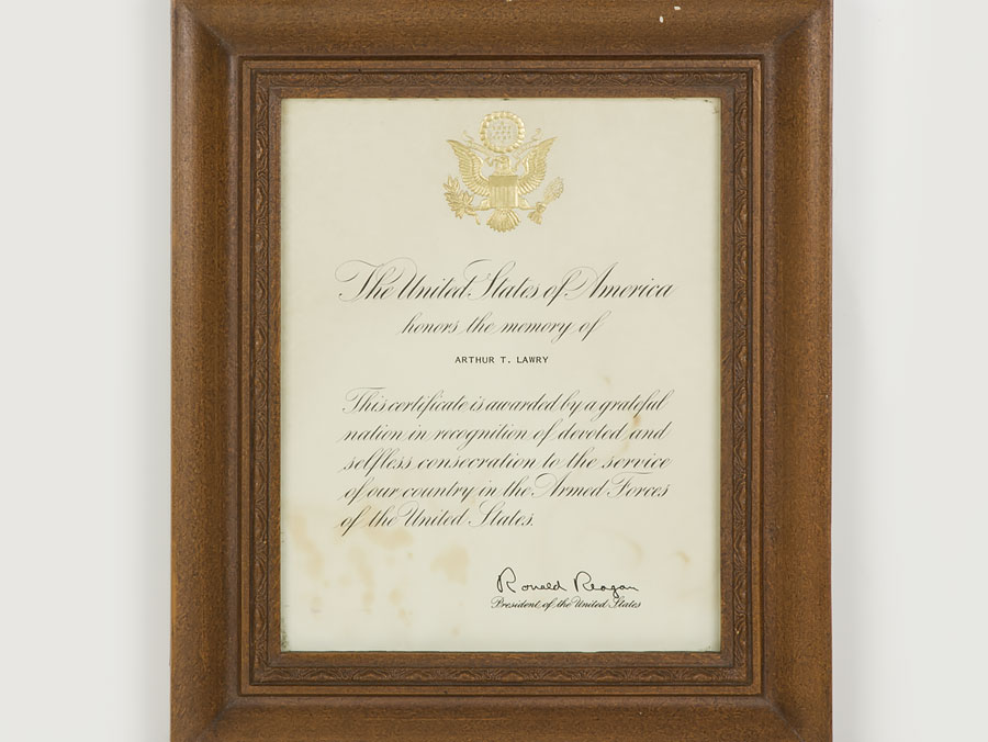 C1983 Usa Presidential Memorial Certificate To Wwii Korea Lt Col