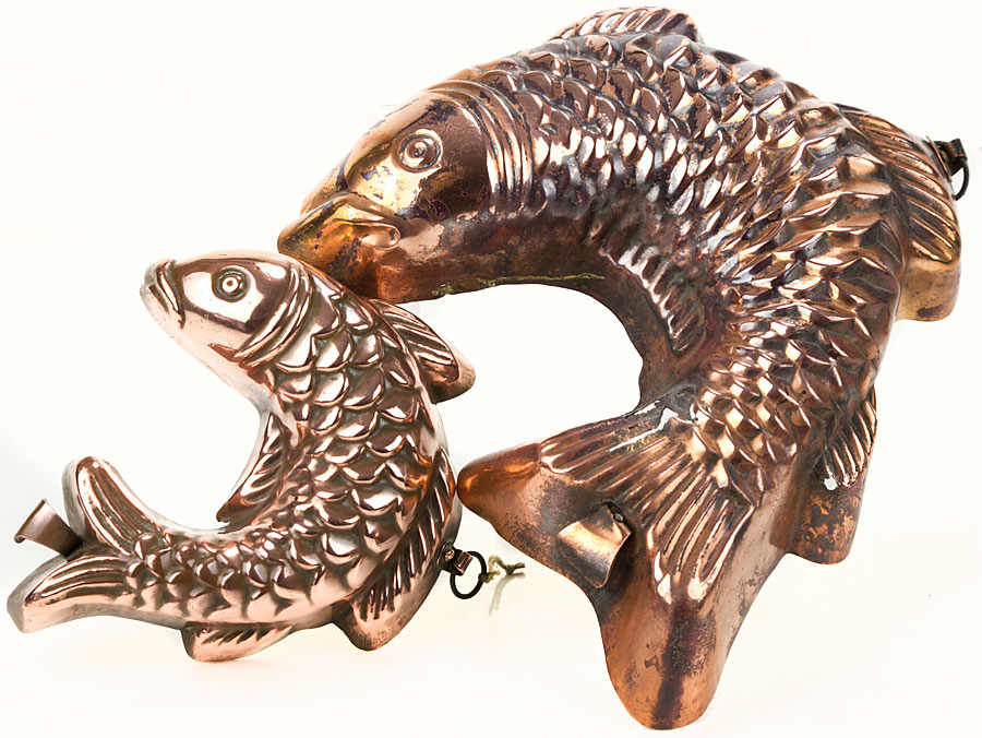 Pair 19th Century Victorian Fish Copper Jelly Moulds Parade