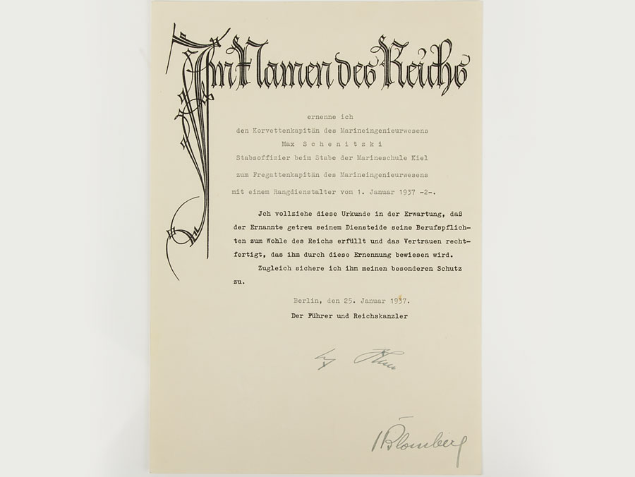 WWII German Commission to Naval Commander Ink Signed by Hitler ...